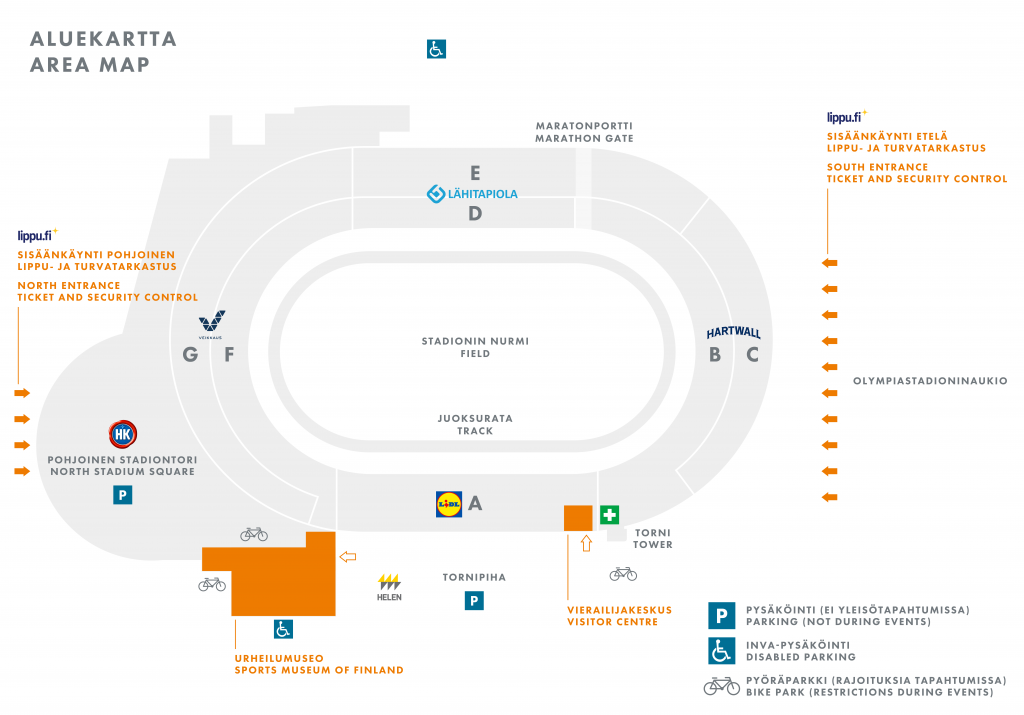Area map of the Olympic Stadium
